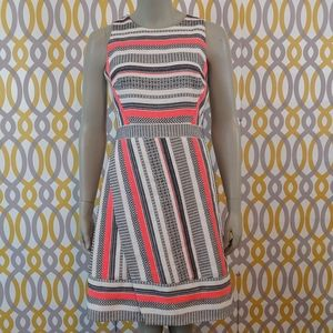 KATE SPADE Striped Coral Fit and Flare Dress 6